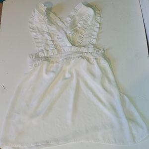 J. Crew women's white ruffle strap tank blouse top